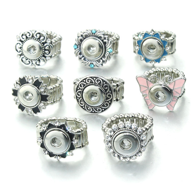 Vintage Crystal DIY Elastic Adjustable Snaps Ring Fit 12mm Metal Snap Buttons Wo