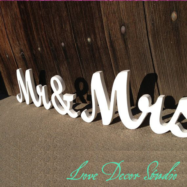 White Mr and. Mrs sign set. Unfinished, painted, glittered Mr mrs ...