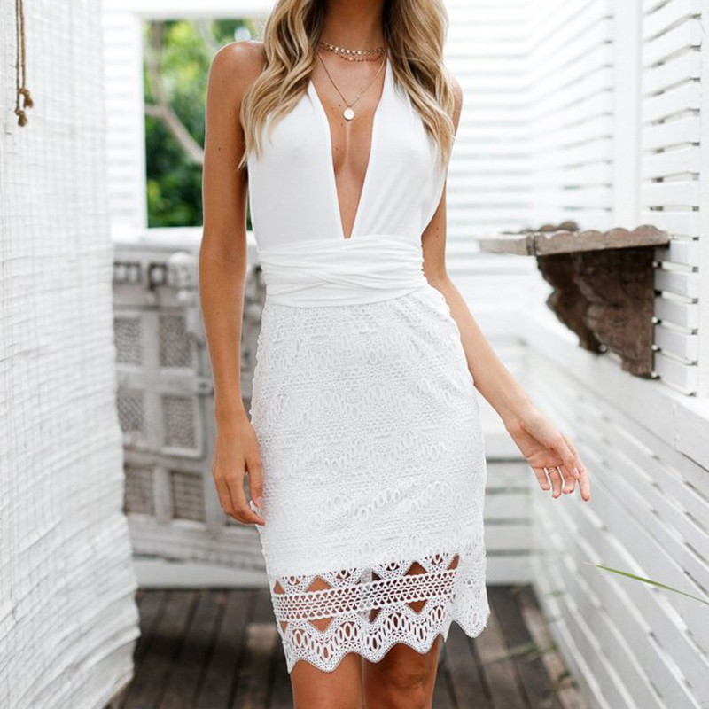Women Backless Beach Summer Hollow Out Dress High Waist V Neck Sleeveless Short Dress Sexy Solid White Lace Dress H6