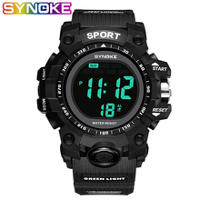 SYNOKE Sport Wrist Watch Watches Sports Men #8217 s Watches LED Watch Clock Shock Watch Hombre Teenager Mens Digital Watches 2019 cheap Digital Wristwatches Plastic 24 5 Buckle 3Bar Back Light Shock Resistant LED display Repeater Water Resistant Alarm Week Display