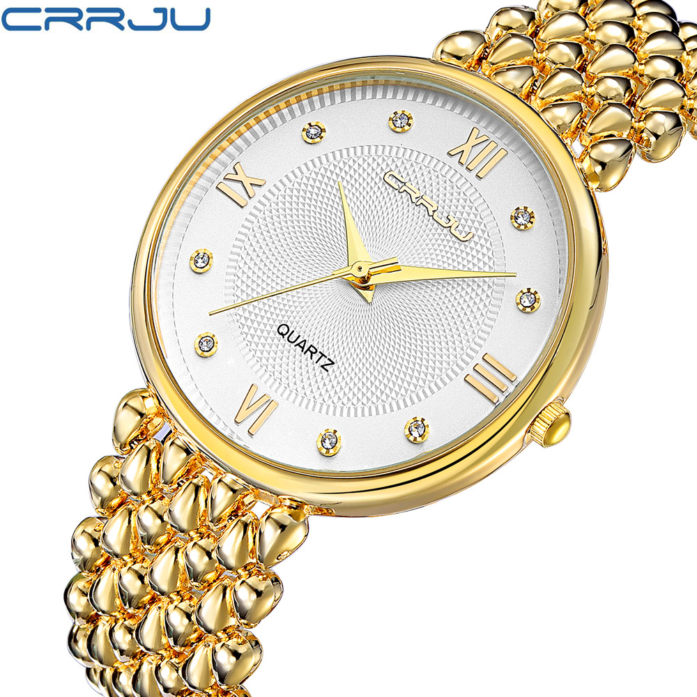 CRRJU Ladies Gold Watch Women Golden Clock Female Top Luxury Brand Women Dress Rhinestone Quartz Waterproof Watches Feminine|Women's Watches|Watches - title=