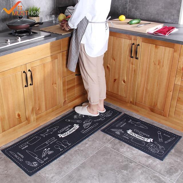 2 Pcs Kitchen Mat Anti Slip Japan Style Cartoon Rubber Backing