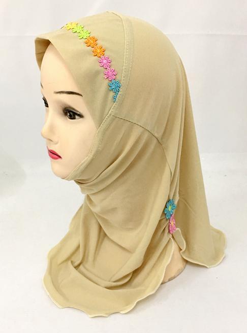 Muslim Kids Girls Hijab Scarf Islamic Flower Caps Shawls One Piece Amira Headscarf Wrap Headwear Turban Arab Children Underscarf