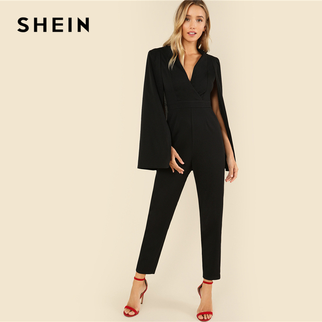 SHEIN Black Party Elegant Wrap Plunging V Neck Cloak Long Sleeve Solid High Waist Maxi Jumpsuit Autumn Women Casual Jumpsuit 3