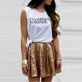 Modern Fashion Mini Falda de Lentejuelas Una Línea Encima de La Rodilla Falda Corta Del Verano Espumosos Brillantes Faldas de Las Mujeres 2016 de La Venta Caliente