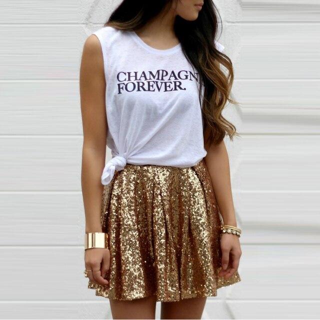 f5811ee26 € 31.88 |Modern fashion mini falda de lentejuelas un line por encima de la  rodilla falda corta del verano espumosos brillantes faldas de las mujeres  ...