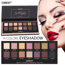 QiBest 14color Eyeshadow Pallete Make Up Long Lasting Shimmer Shining Eye Shadow Matte Easy To Wear Makeup Palette