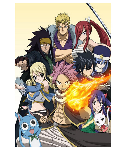 Canvas Poster Silk Fabric Living Room  Posters Fairy Tail Japan Anime Bedroom  Decorative Poster