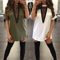 Summer Dress 2016 Hot Women Short Sleeve Lace Up Mini T Shirt Dress Casual Solid Loose V Neck Cotton Club Party Tshirt Dress