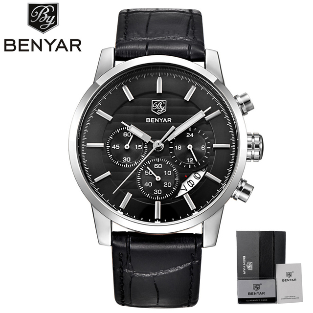 BENYAR שעון גברים עמיד למים הכרונוגרף לבוש עסקי שעונים של תאריך קוורץ שעוני יד זכר שעה relogio masculino 2017