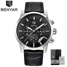 Reloj BENYAR para hombre, reloj de negocios con cronógrafo resistente al agua, relojes de pulsera de cuarzo con fecha para hombre, reloj de pulsera para hombre, reloj masculino 2017