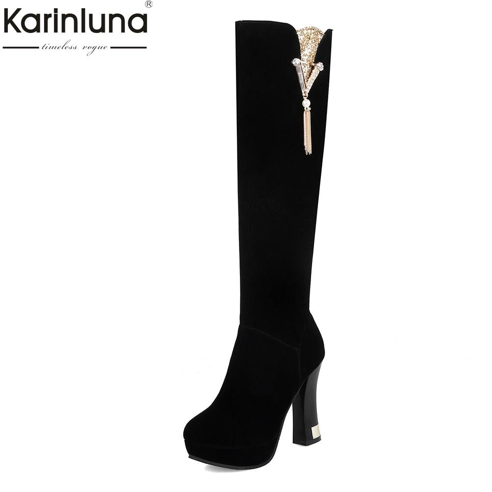Karinluna 2018 Large Size 32-43 Dropship High Heels Zip Up Platform women Shoes Woman party Boots Knee High Boots Woman Shoes все цены
