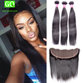 HJ Weave Beauty Malaysian Straight 13x4 No Baby Hairs Lace Frontal Closure with 3 Bundles Hair Weaves Free Shipping