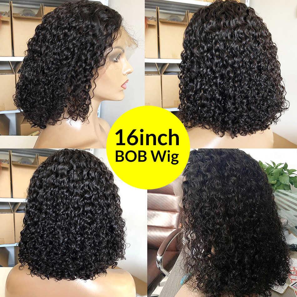 Парики из натуральных волос с глубоким волнистым кружевом и волнистым передним кружевом, предварительно сорванные бразильские волосы Remy, кудрявые фронтальные парики, бесплатная доставка