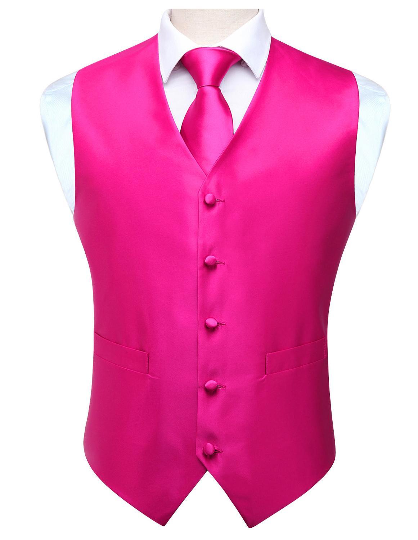 Pocket Square Set Men's Classic Solid Party Wedding NeckTie Jacquard Waistcoat Vest Pocket Square Tie Suit Set