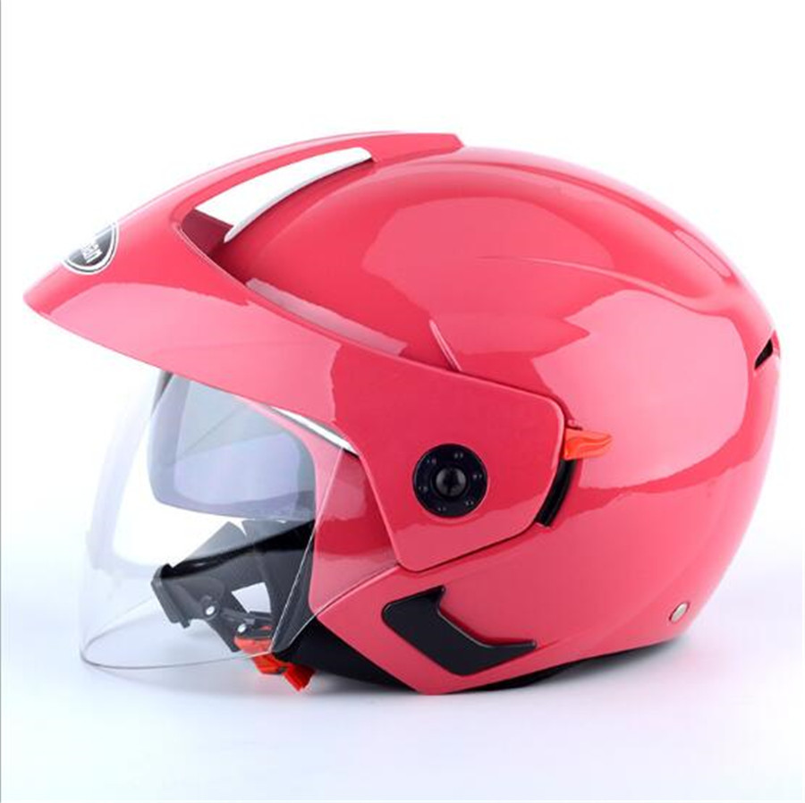 pink color 2018 New Double lens Half Face Motorcycle helmet MINI Motorbike helmets made of ABS and PC Visor lens 6 colors