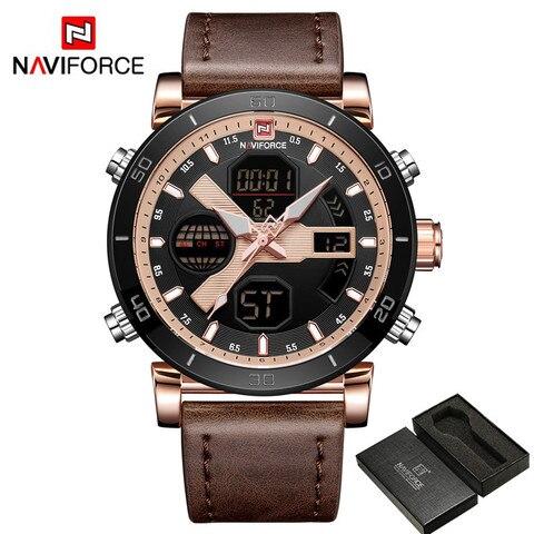NAVIFORCE Men Watch Top Brand Luxury Sport Chronograph Digital Male Clock Genuine Leather LED Military Quartz Wristwatch 9132 Multan