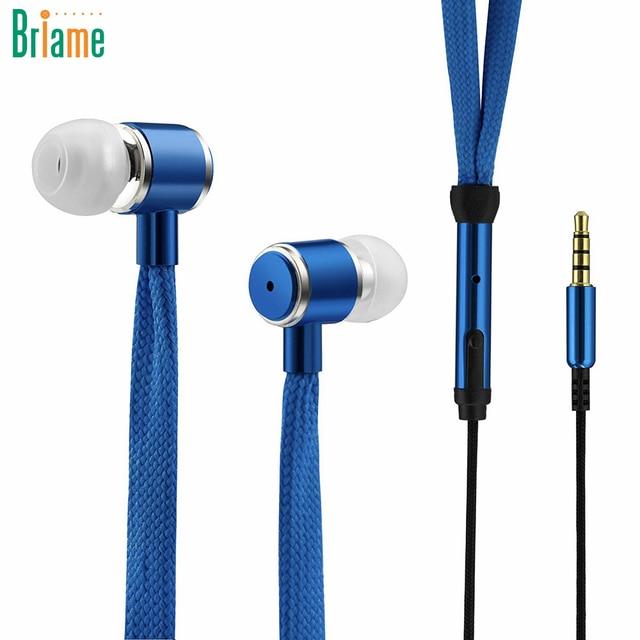 Шнурки наушники стерео звук Металл Бас Наушники гарнитуры Музыка наушники с микрофоном для iPhone Xiaomi Samsung Спорт