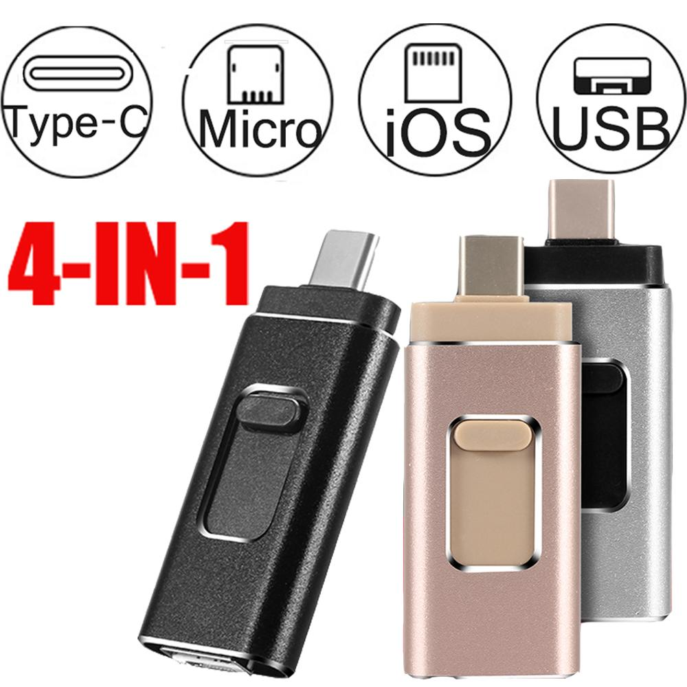 4 In 1 OTG USB Flash Drive 32 64G 128G 256G Memory Stick Type-C Pen Drive For Samsung S8 S9 Huawei P20 Iphone X 8 7 Plus Usb 3.0