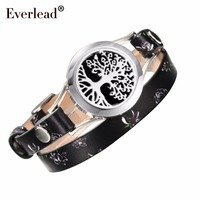 Everlead Tree Of Life Bracelets Real Leather Essential Oil Diffuser Screw Down 316L Stainless Steel Locket
