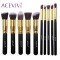 ACEVIVI 10 unids Oro Negro Pinceles de Maquillaje Kit de Sombra de Ojos Fundación Blending Cepillos Cosméticos Conjunto