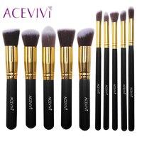 ACEVIVI 10pcs Black Gold Makeup Brushes Kit Foundation Eyeshadow Blending Cosmetic Brushes Set