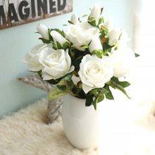 3heads silk roses Bride bouquet Wedding christmas decoration for home ornamental flowerpot artificial flowers scrapbooking 10pcs