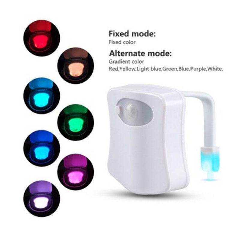 8 Colors Body Sensing Motion Sensor Automatic LED Night Light Toilet Bowl Bathroom Lamp