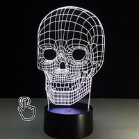 3D LED Night Lights 7 Color Changing Skull USB Optical Illusion Home Decor Table Lamp Novelty