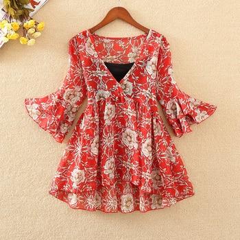 Blusa de gasa de Tps Kimono Floral de Boho de Camisa Tops y blusas para mujer de talla grande 2018 coreana Harajuku ropa Camisa DF2448