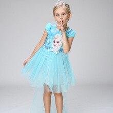 Nouvelles Filles Tutu Robe Brillant Bleu Rose Elsa Anna Princesse fille Robes Avec Cape Top Qualité Enfants Vêtements Parti Costume dentelle