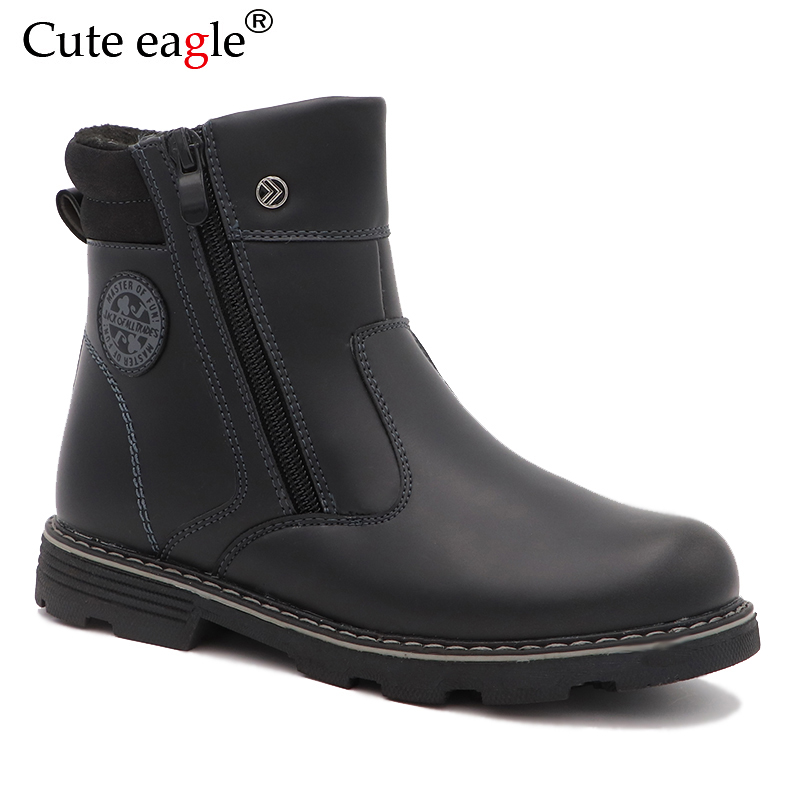 Cute Eagle Winter Boys Boots Warm Woolen Plush Snow Boots Boys For School Outdoor Natural Leather Rubber Boots EU Size 32-37  Cute Eagle Winter Boys Boots Warm Woolen Plush Snow Boots Boys For School Outdoor Natural Leather Rubber Boots EU Size 32-37