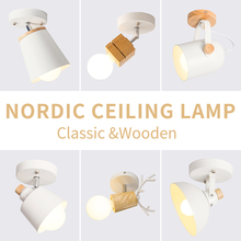 EL LED Ceiling Light Iron Wood Nordic Modern Ceiling Lamp for Living Room Bedroom Decoration Fixture Corridor Kitchen
