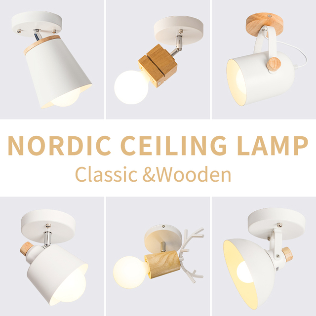 EL LED tavan ışık demir ahşap İskandinav Modern tavan lambası oturma odası yatak odası için dekorasyon fikstür koridor mutfak
