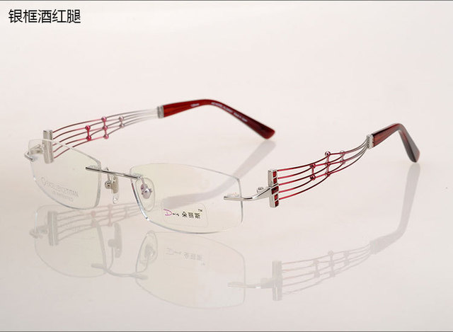 a67889af1f Woman 100% Titanium Glasses Optical Female High End Elegance Rimless Eyeglasses  Frame Top Quality Spectacle Myopia Eyewear