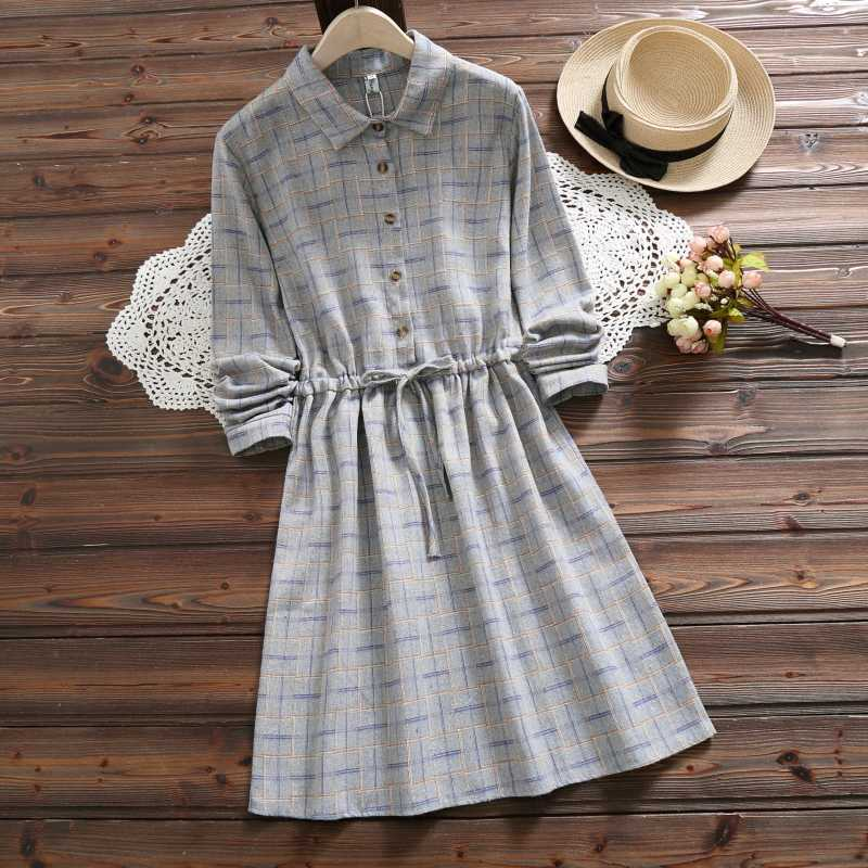 5b4d00c94a1 6 Colors Mori Girl Autumn Winter Women Cute Dress Vintage Plaid Cotton Lace  Up Casual Loose