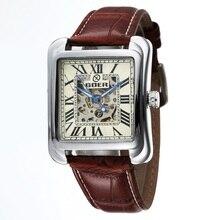 GOER бренд Мужской спортивные часы площадь цифровой водонепроницаемой кожи мужская механическая автоматическая наручные часы Световой Скелет