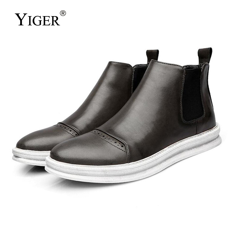 YIGER NEW Genuine Leather Spring/Autumn Ankle Men Boots Casual Comfortable shoes Black Brown Gray Fation Boots 0003