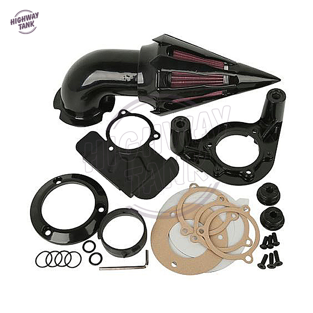 Black Motorcycle Spike Air Cleaner Kit Intake Filter case for Harley Touring Electra Glide 2008 2009