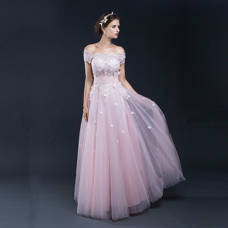 Real Photos Pink A-line Tulle With Pink Lace Evening   Dresses   Long Formal Women Party Gown Sexy   Prom     Dress   Gala   Dresses   Elegant