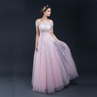 Real Photos Pink A line Tulle With Pink Lace Evening Dresses Long Formal Women Party Gown Sexy Prom Dress Gala Dresses Elegant