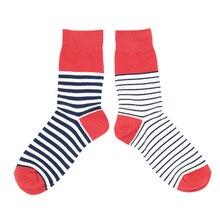 Women's Spring Autumn Cotton Crew Socks Harajuku Wind Japanese Fashion wild Funny AB Asymmetric Red Black Thick Stripe Socks