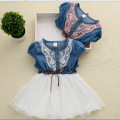 2017 Summer New Baby Girls Dress Sweet Lace Mesh Kids Clothing Party Dress Cute Denim Patchwork Chidren Clothing 3-8 Years