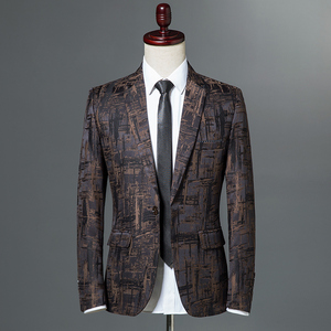 Image 4 - 2019 New Autumn Winter Mens Classic Leopard Print Slim Fit Blazers Male Single Button Casual Business Suit Jacket Wine red Khaki