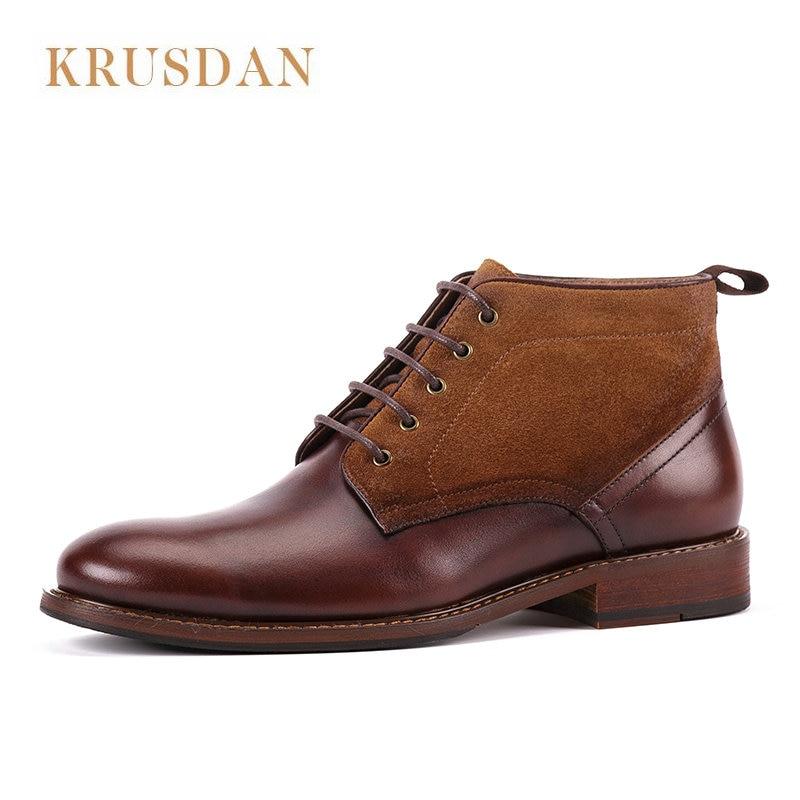 cuir luxe main fait véritable Cheville en de bottes hommes à marque de la 7qIqxg