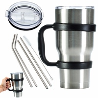 Portable 8 Piece Set Water Bottle Mugs Cup Handle Lid Straw Set For 30 Ounce YETI