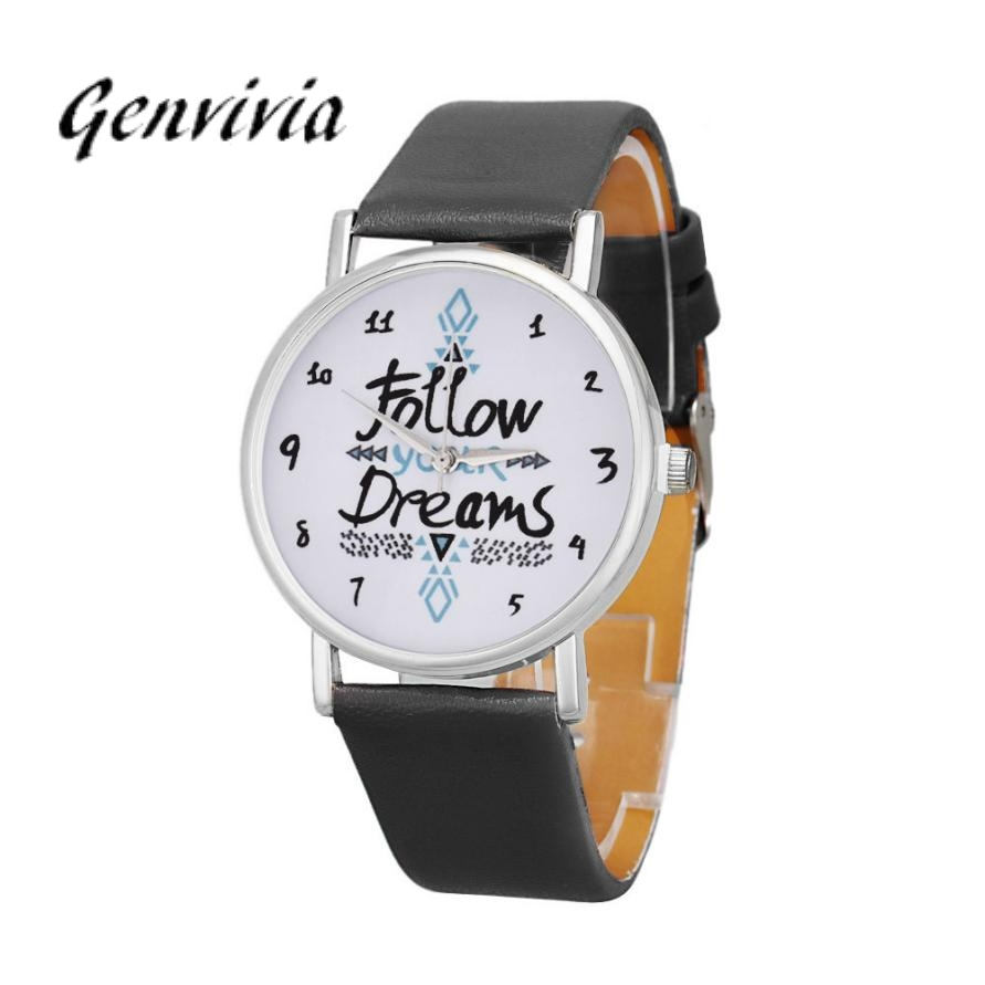 Simplelee 2018 womens watches fashion With Follow Dreams Words Pattern Round Quartz Watches With PU Leather Watch#LD