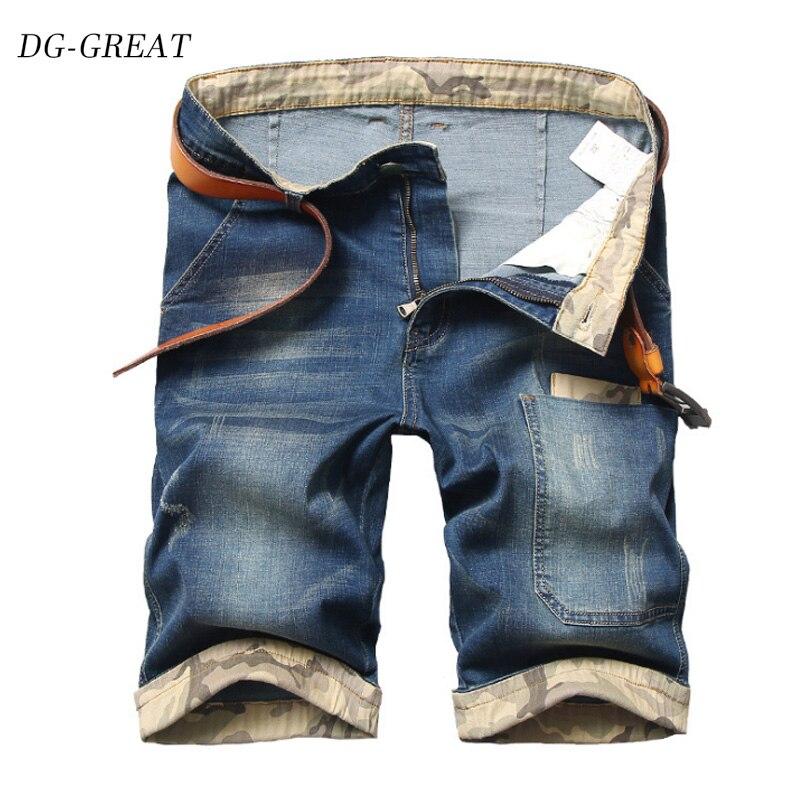 Mens Jeans Plus Size 44 46 48 Shorts Pants Stretch Casual Blue Cotton Straight Denim Short Jeans For Male Trousers