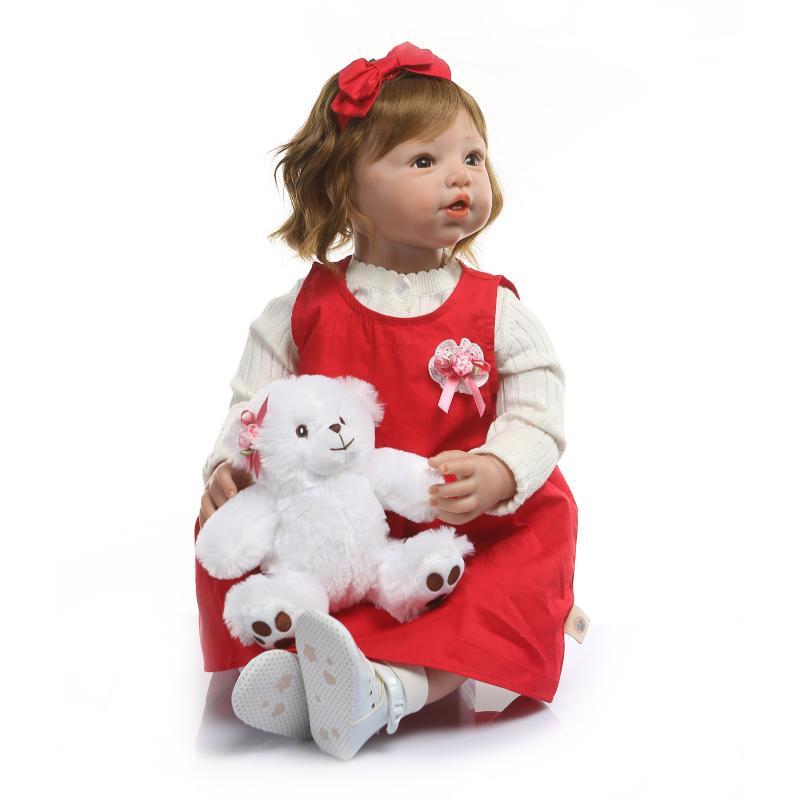 80cm de silicona de vinilo Reborn Baby Doll bebés realista muñeco de bebé Reborn s juguete ropa modelo niñas Brinquedos - 3