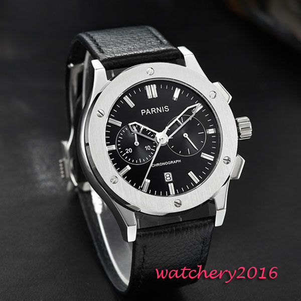 Hot parnis 44mm black dial SS Case Deployment Buckle Crystal Chronograph quartz movement Men 39 s Watch in Quartz Watches from Watches